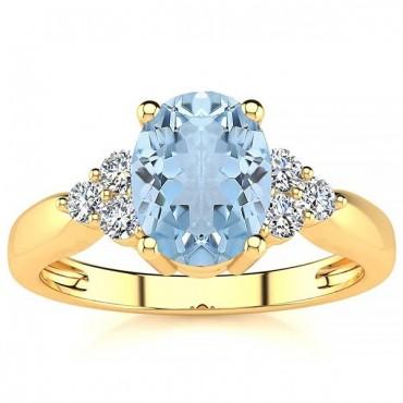 Selena Aquamarine Ring - Yellow Gold