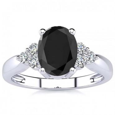 Selena Black Diamond Ring - White Gold