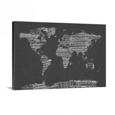 Sheet Music World Map Blue Wall Art - Canvas - Gallery Wrap