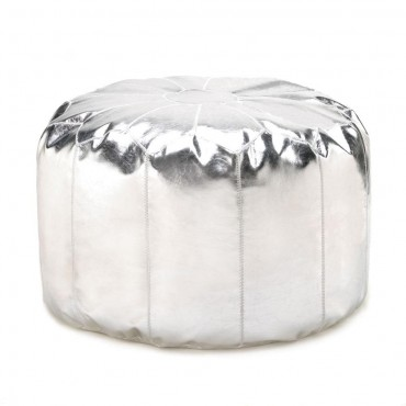 Silver Pouf Ottoman