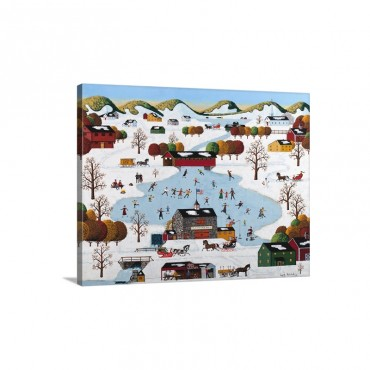 Skating On Old Stone Mill Pond Wall Art - Canvas - Gallery Wrap
