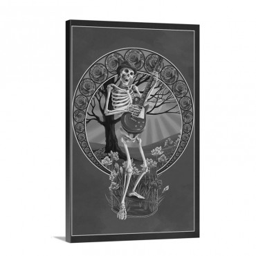 Skeleton And Guitar Retro Travel Poster Wall Art - Canvas - Gallery Wrap
