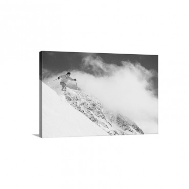Skier Flying Over Slope With Clouds Whistler Mount Canada Low Angle View Wall Art - Canvas - Gallery Wrap