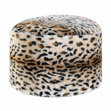 Snow Leopard Fuzzy Pouf