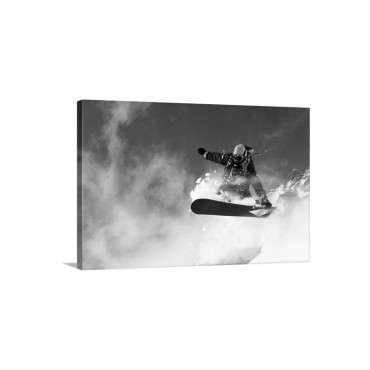 Snowboarder In Mid Air Jump Grabbing Board Wall Art - Canvas - Gallery Wrap