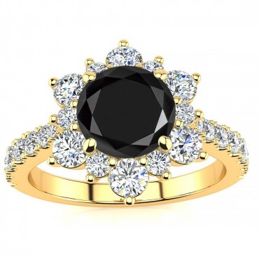 Snowflake Black Diamond Ring - Yellow Gold