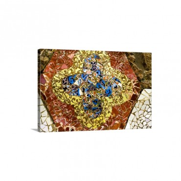Spain Barcelona Gracia Park Guell Trencadis Mosaic Designs Wall Art - Canvas - Gallery Wrap