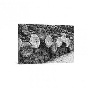 Spain Barcelona Gracia Park Guell Wall With Trencadis Mosaic Designs Wall Art - Canvas - Gallery Wrap