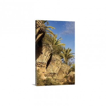 Spain Barcelona Park Guell Clay Mosaic Columns Holding Palm Trees Wall Art - Canvas - Gallery Wrap