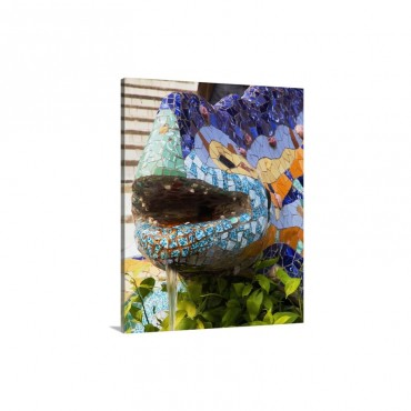 Spain Cataluna Barcelona Parc Guell Lizard By Gaudi Wall Art - Canvas - Gallery Wrap