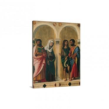 St Luke The Virgin St John The Baptist And St Mark By Workshop Of Cima Da Coneglia Wall Art - Canvas - Gallery Wrap