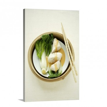 Steamed Chicken Breast With Pak Choi In A Steamer Basket Wall Art - Canvas - Gallery Wrap