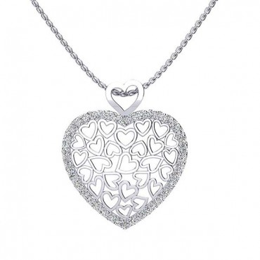 Suzie Diamond Heart Pendant - White Gold