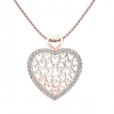 Suzie Diamond Heart Pendant - Rose Gold