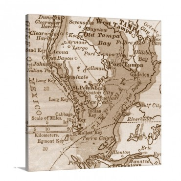 Tampa Bay Vintage Map Wall Art - Canvas - Gallery Wrap