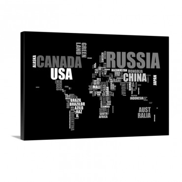 Text Map In Black And White Wall Art - Canvas - Gallery Wrap