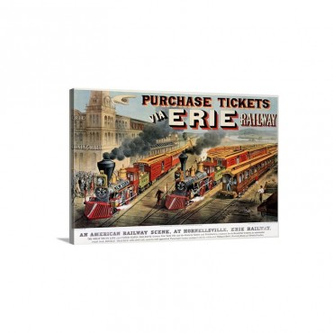 The American Railway Scene At Hornellsville Erie Railway Wall Art - Canvas - Gallery Wrap