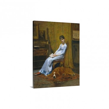 The Artist's Wife And His Setter Dog By Thomas Eakins Wall Art - Canvas - Gallery Wrap