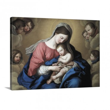 The Madonna And Child In Glory With Cherubs Wall Art - Canvas - Gallery Wrap