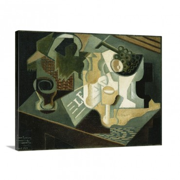The Table In Front Of The Building La Table Devant Le Battiment 1919 Wall Art - Canvas - Gallery Wrap