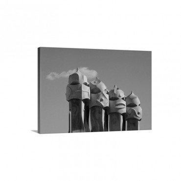 The Strangely Shaped Rooftop Chimneys Of La Pedrera Designed By Gaudi Wall Art - Canvas - Gallery Wrap
