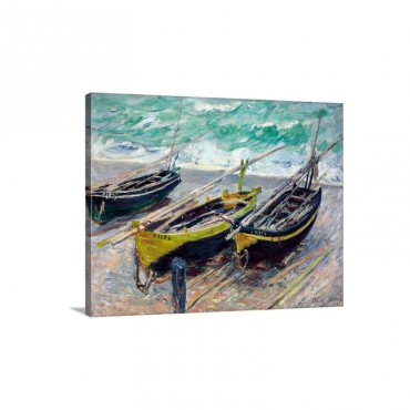 Three Fishing Boats By Claude Monet Wall Art - Canvas - Gallery Wrap