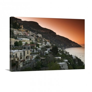 Town On The Hillside Positano Salerno Campania Italy Wall Art - Canvas - Gallery Wrap