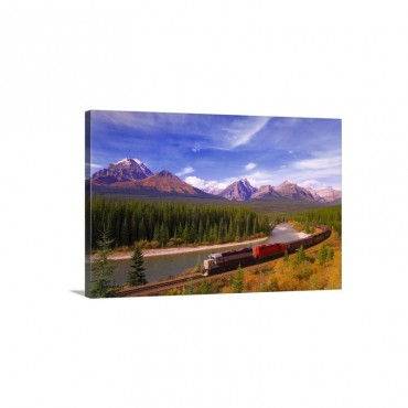 Train In Banff National Park Wall Art - Canvas - Gallery Wrap