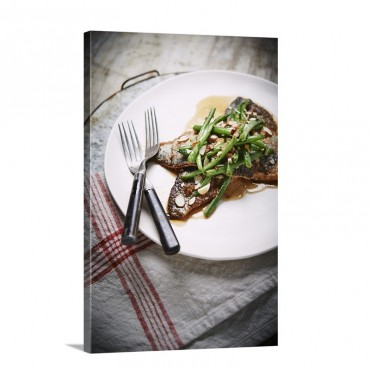 Trout Almandine With French Haricot Vert Green Beans Wall Art - Canvas - Gallery Wrap