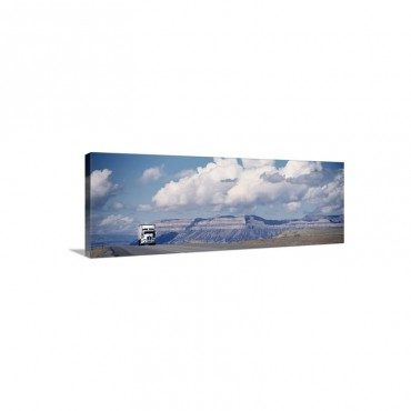 Truck On The Road Interstate 70 Green River Utah Wall Art - Canvas - Gallery Wrap