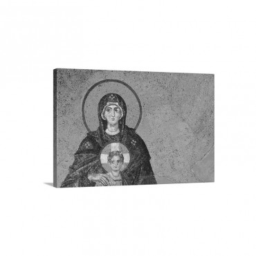 Turkey Istanbul Mosaic Of Virgin Mary And Jesus In Haghia Sophia Mosque Wall Art - Canvas - Gallery Wrap