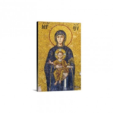 Turkey Istanbul Mosaic Of Virgin Mary Holding Jesus In Haghia Sophia Mosque Wall Art - Canvas - Gallery Wrap