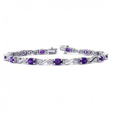 Twist Amethyst Bracelet - White Gold