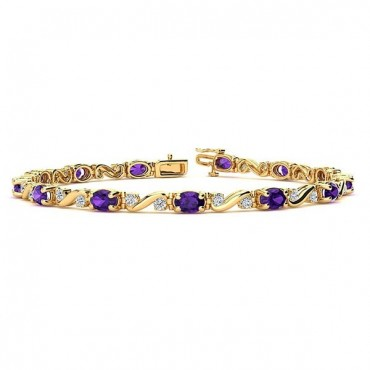 Twist Amethyst Bracelet - Yellow Gold
