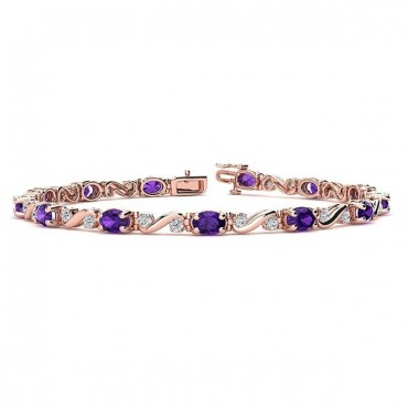 Twist Amethyst Bracelet - Rose Gold