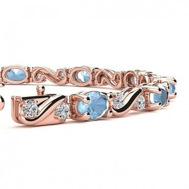 Twist Aquamarine Bracelet - Rose Gold