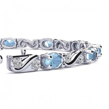 Twist Aquamarine Bracelet - White Gold