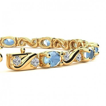 Twist Aquamarine Bracelet - Yellow Gold
