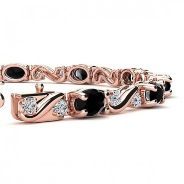 Twist Black Diamond Bracelet - Rose Gold