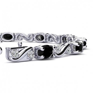 Twist Black Diamond Bracelet - White Gold