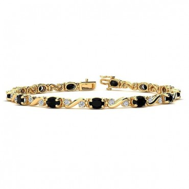 Twist Black Diamond Bracelet - Yellow Gold