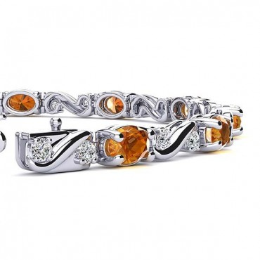 Twist Citrine Bracelet - White Gold