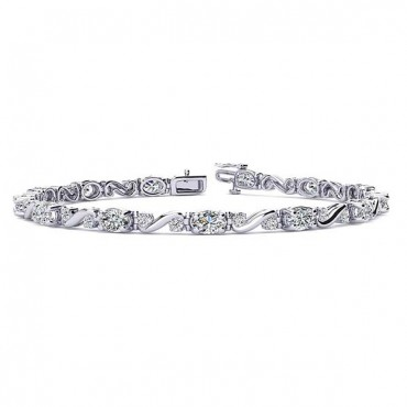 Twist Diamond Bracelet - White Gold