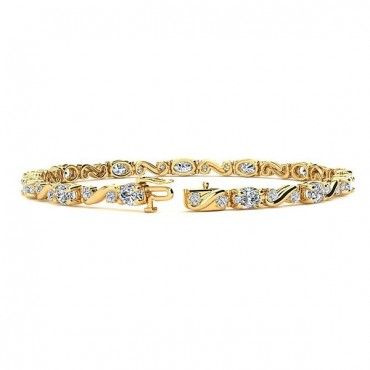 Twist Diamond Bracelet - Yellow Gold