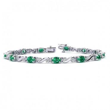 Twist Emerald Bracelet - White Gold