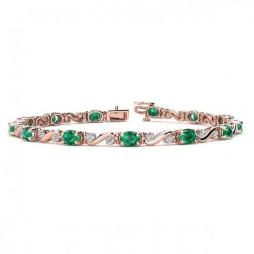 Twist Emerald Bracelet - Rose Gold