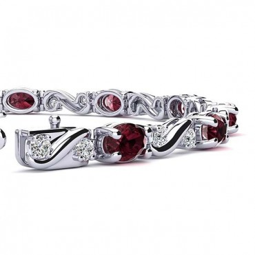 Twist Garnet Bracelet - White Gold