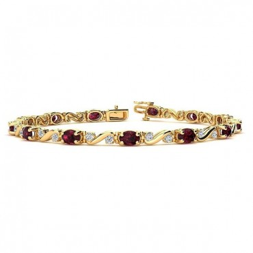Twist Garnet Bracelet - Yellow Gold
