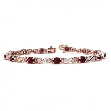 Twist Garnet Bracelet - Rose Gold
