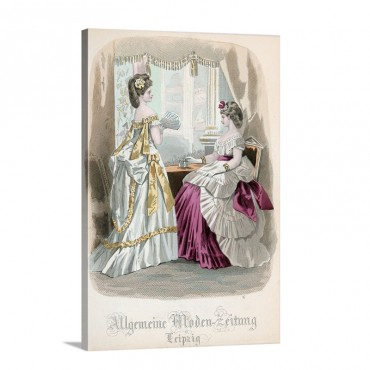 Two Ladies Fashion Plate From The Allgemeine Moden Zeitung  Leipzig 1872 Wall Art - Canvas - Gallery Wrap